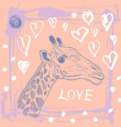 Card with cute giraffe and heart Sketch love Pink vector image