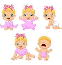 Cartoon little baby girl in different expressions vector