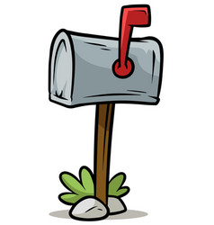 Cartoon silver mailbox icon vector