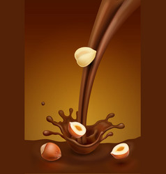 chocolate splash with falling piece of hazelnuts vector image