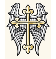 christian cross and wings vector image