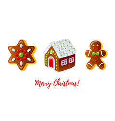christmas gingerbread biscuit icon set cartoon vector image