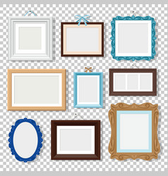 classic photo frames on transparent vector image