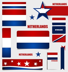 Collection of Netherlands Flags Flags concept vector image