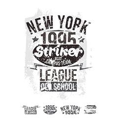 College New York team rugby retro emblem vector image
