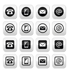 Contact buttons set - mobile phone email vector image