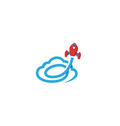 creative red rocket blue cloud logo vector image