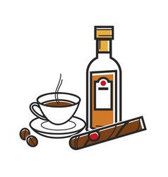 Cuban natural coffee best rum and big cigar vector