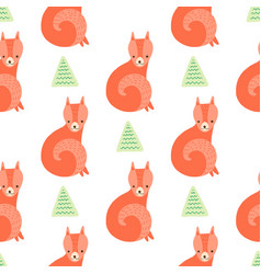 cute fox with trees seamless pattern on white vector image