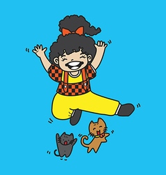 cute girl with cat jump vector image