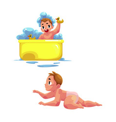 Cute little baby kid infant child taking bath vector