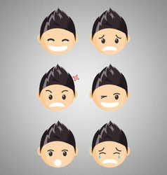 Different male chibi reaction faces vector