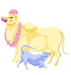 Diwali holiday and cow in flowers as holy animal vector