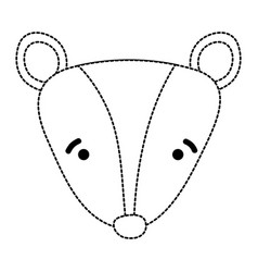 Dotted shape sad skunk head wild animal vector