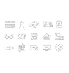 e-store icons web online shopping retail products vector image