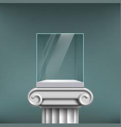 Empty glass cube showcase on an antique column vector