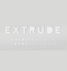 extruded grey alphabet cut out font paper type vector image