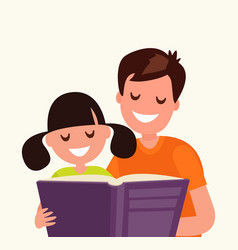 Father reading a book to his daughter vector