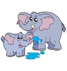 female and baby elephants vector image