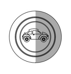 Figure round emblem side sport car icon vector