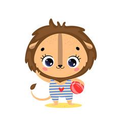 flat cute cartoon summer tropical lion vector image