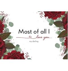 Floral card design with garden burgundy red rose vector