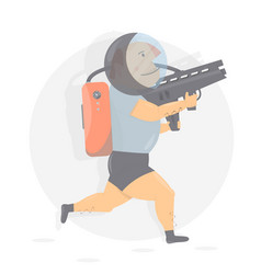 Fun and funny astronaut with gun vector