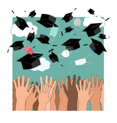 Funny graduation background with hands vector