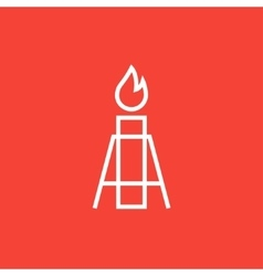 Gas flare line icon vector
