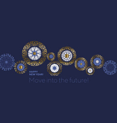 Gear movement idea snowflakes header composition vector