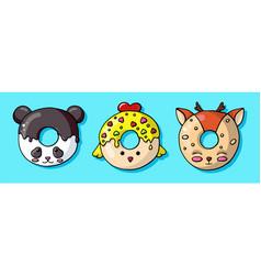 glazed cute doughnut animals set isolated donuts vector image