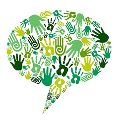 Go green hands communication vector image