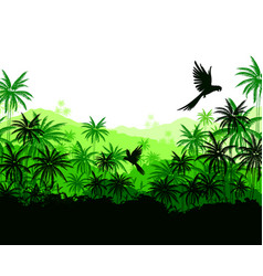 Green palms and parrots vector