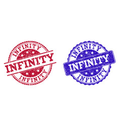 Grunge scratched infinity seal stamps vector