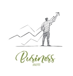 Hand drawn business man with concept lettering vector image