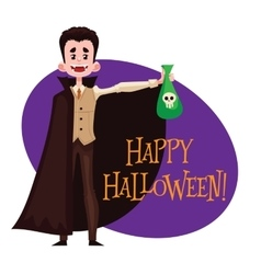 Happy boy dressed as Dracula for Halloween vector image