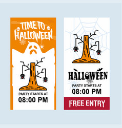 happy halloween invitation design with tree and vector image