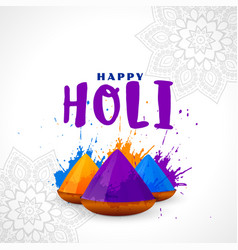Happy holi festival card colorful background vector