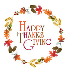 Happy thanksgiving wreath graphic vector