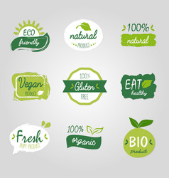Healthy food vegetable vegan logo tag bio green vector