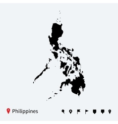 High detailed map of philippines with navigation vector