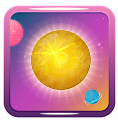 icon with sun planets and stars vector image