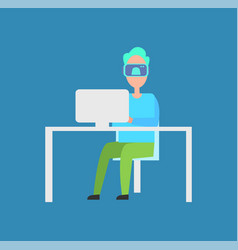 interactive reality man laptop vector image