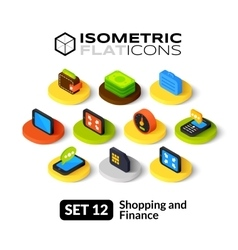Isometric flat icons set 12 vector image vector image