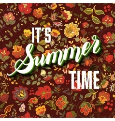 It is summer time boho lettering background vector