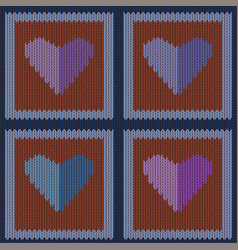 knitted woolen seamless pattern with purple hearts vector image