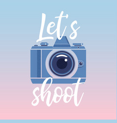 lets shootphotographer logo with lettering vector image