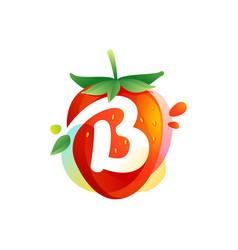 Letter b logo on a tasty ripe strawberry vector