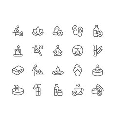 Line spa icons vector