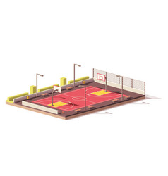 low poly basketball court vector image